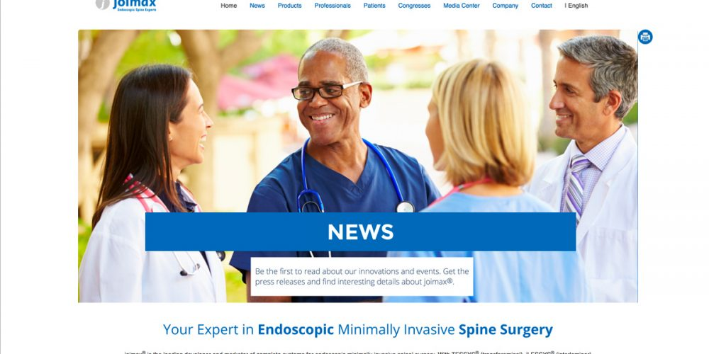 JOIMAX<sup>®</sup> ANNOUNCES RELEASE OF FIRST ENDOSCOPIC AMA CPT CODE <p />Company also releases newly designed joimax<sup>®</sup> homepage