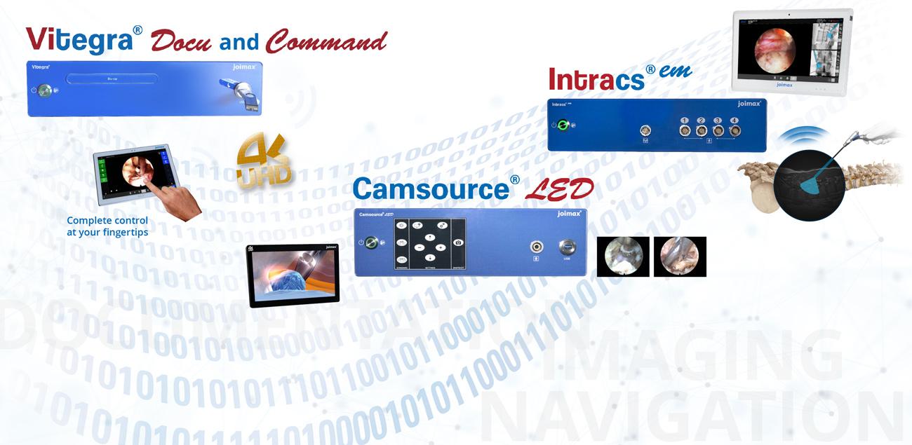 Generation 4, joimax, endoskopische Geräte, Wirbelsäule, Intracs, Navigation, Camsource LED, Kamera, Vitegra Docu & Command, Dokumentation, Kommando, OP, Chirurgie