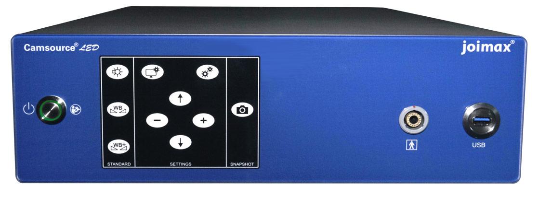 joimax, endoskopische Geräte, elektronische Geräte, Camsource LED, Ansicht seitlich von oben mit eingestecktem Kabel und 4K UHD-Logo