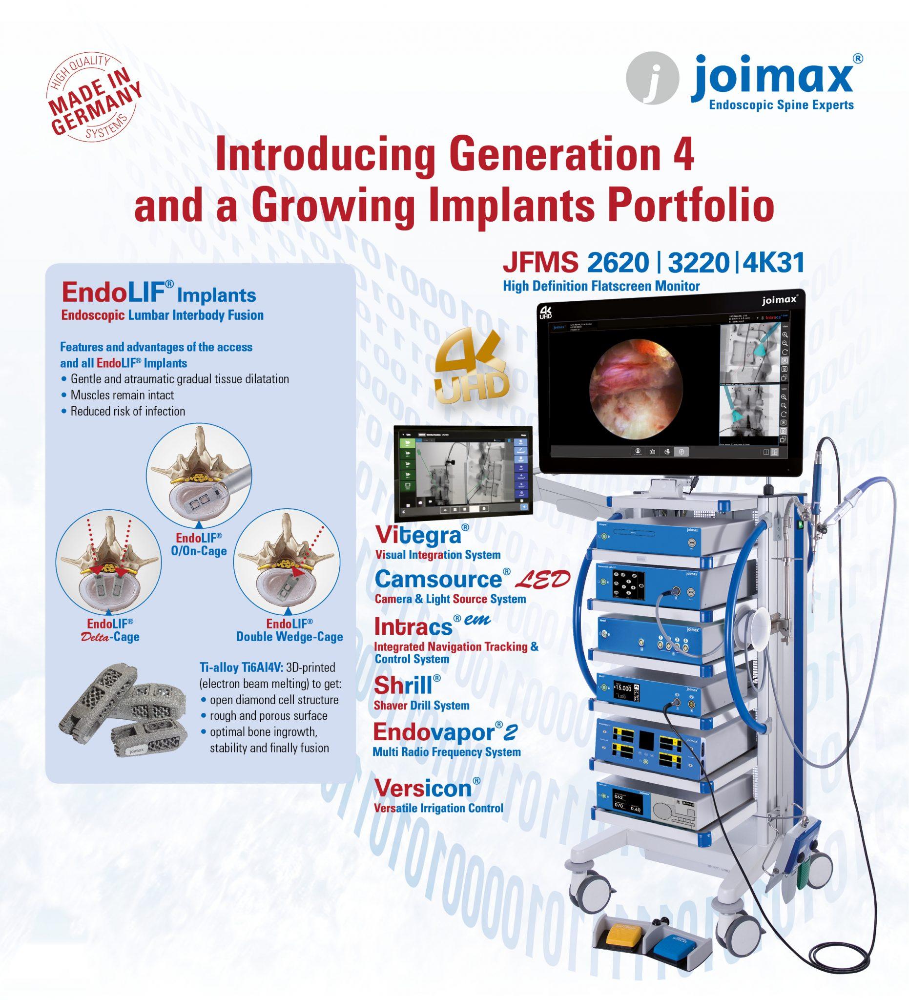 Joimax, Endoscopic spine surgery, Minimally invasive, Transforaminal, Interlaminar, Training and Education, EndoLIF Implants, Navigation, Generation4, next Generation, tower, endoscopic
